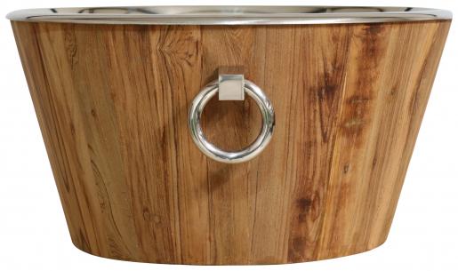 Block & Chisel teak wood wine tub with nickel hardware