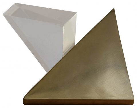 Block & Chisel steel and acrylic triangular sculpture