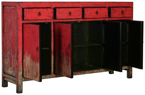Block & Chisel red wooden 4 door Chinese sideboard with 4 drawers