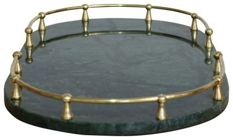 Block & Chisel oval green marble tray with steel frame