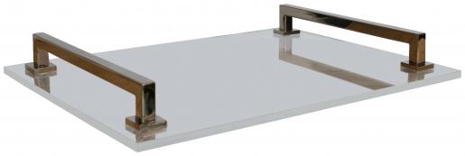Block & Chisel rectangular acrylic tray with steel handles