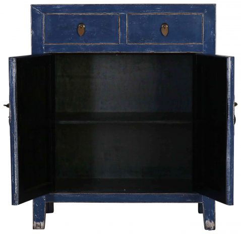 Block & Chisel blue wooden 2 door Chinese cabinet with 2 drawers