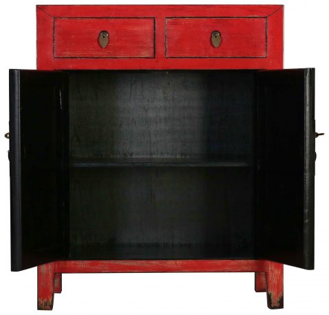 Block & Chisel red wooden 2 door Chinese cabinet with 2 drawers