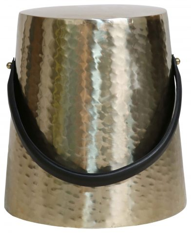 Block & Chisel round aluminium stool with antique brass finish