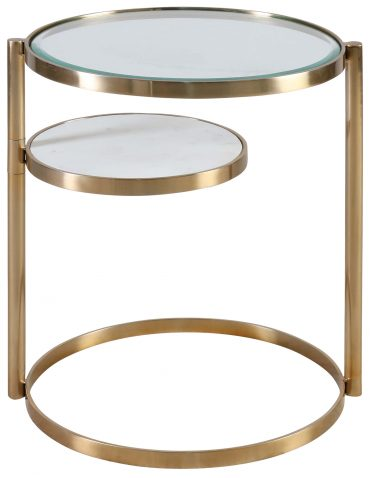 Block & Chisel round glass top side table with steel frame