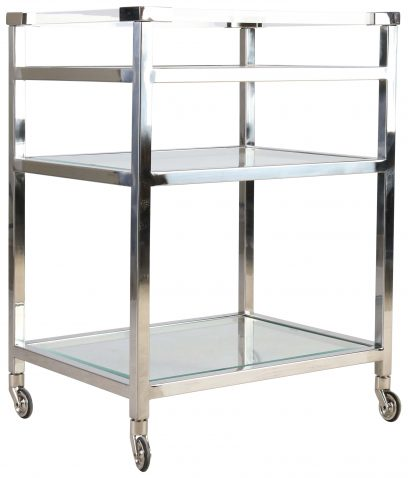 Block & Chisel glass and acrylic trolley on castors