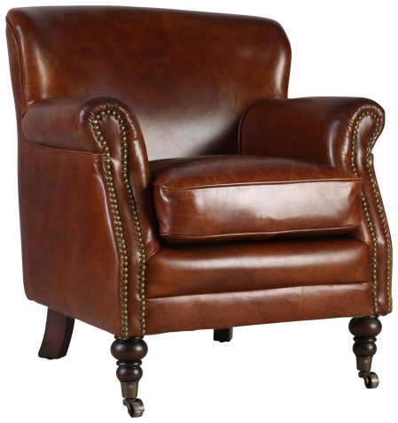 Block & Chisel brown bovine leather armchair with wooden legs and castors