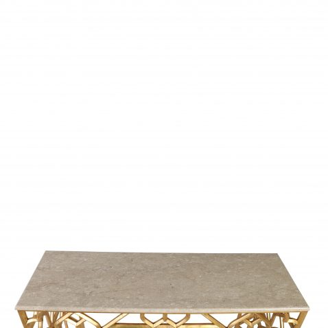 Block & Chisel geometric mango wood base console with marble top