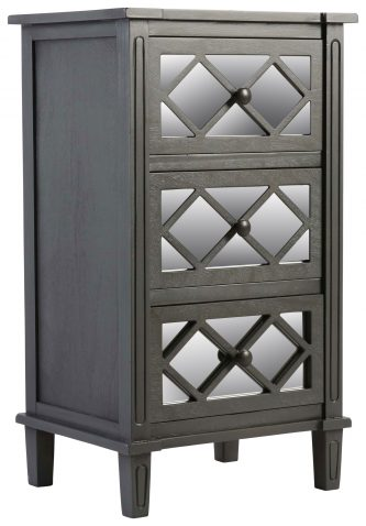 Block & Chisel wooden 3 drawer bedside table with gunmetal finish