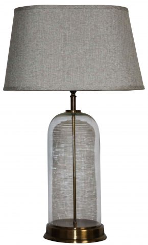 Block & Chisel glass and brass lamp base with grey shade