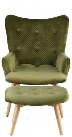 Block & Chisel green upholstered lounge chair with stool