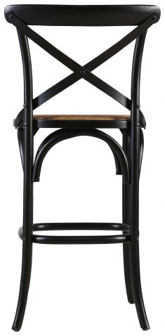 Block & Chisel black birch wood counter stool with rattan seat