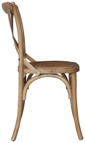Block & Chisel Antique Oak crossback dining chair with rattan seat