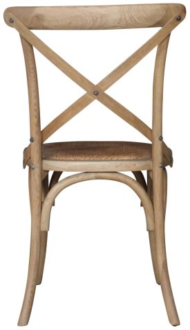 Block & Chisel Pacific Oak crossback dining chair with rattan seat