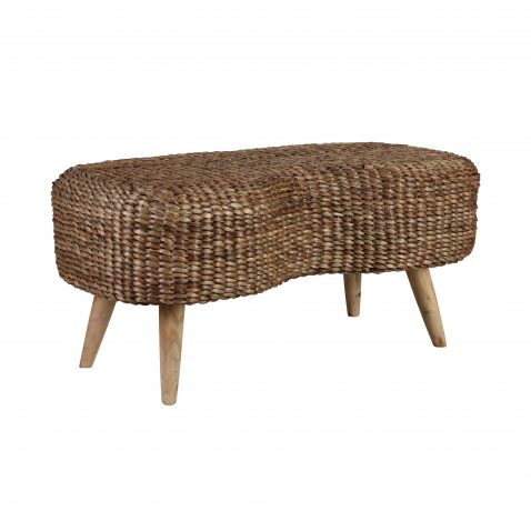 Block & Chisel woven water hyacinth 2 seater stool with teak wood legs