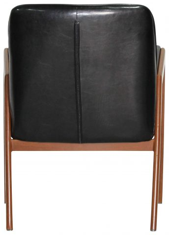 Block & Chisel black faux leather chair with wooden legs