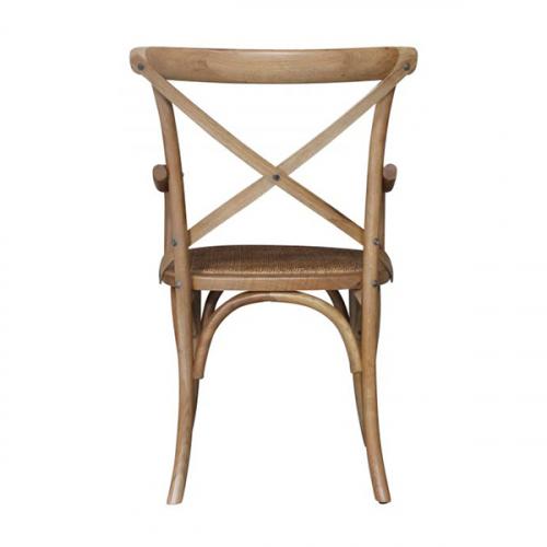 Block & Chisel Antique Oak crossback armchair with rattan seat