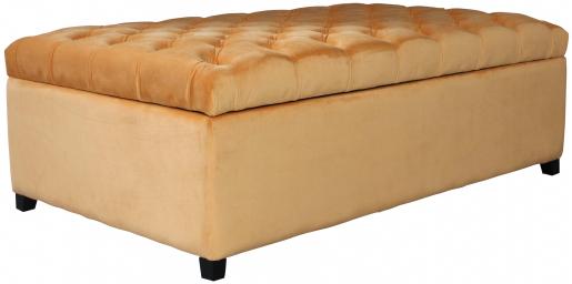 Block & Chisel orange velvet upholstered storage ottoman
