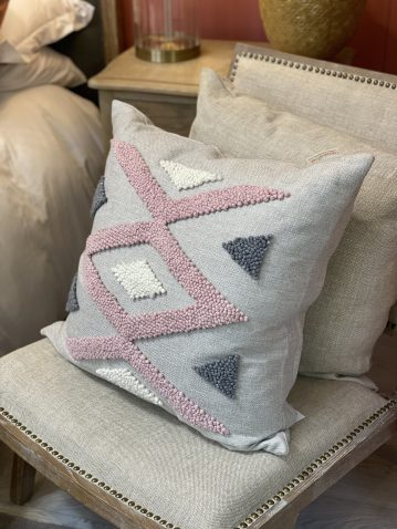 punch needle scatter cushion pink and oatmeal