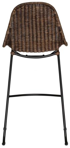 Block & Chisel honey brown rattan counter stool with metal legs