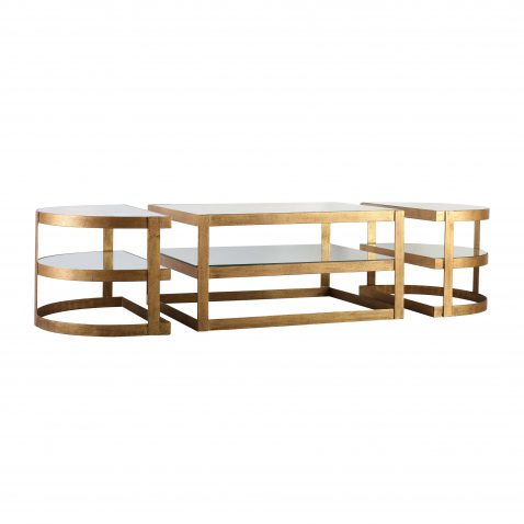 Block & Chisel oval iron coffee table with glass shelves