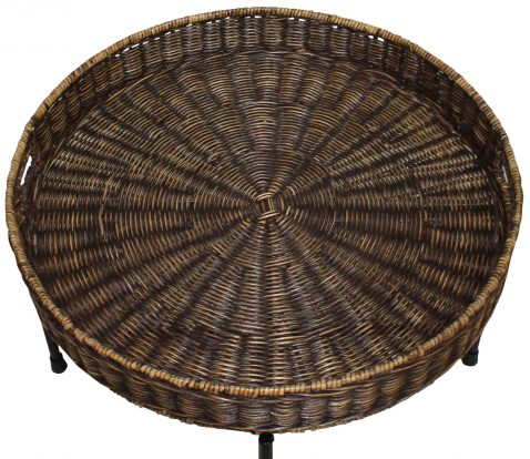 Block & Chisel round honey brown rattan tray top side table with metal legs