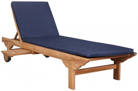 Block & Chisel teak wood lounger with blue cushion