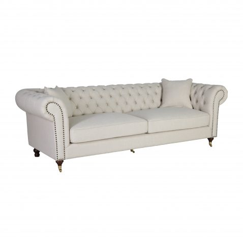 chesterfield 3 seater sofa in speckled beige