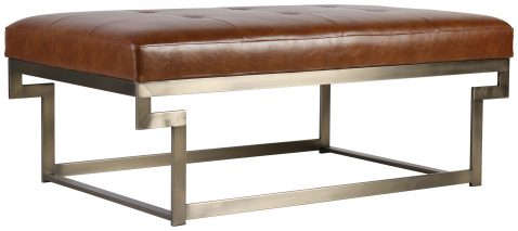 Block & Chisel brown upholstered coffee table with plated metal frame