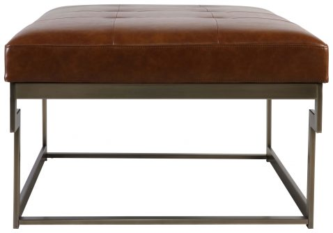 Block & Chisel brown faux leather upholstered coffee table with plated metal frame