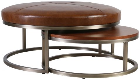 Block & Chisel round cocktail upholstered nesting coffee tables with metal frame