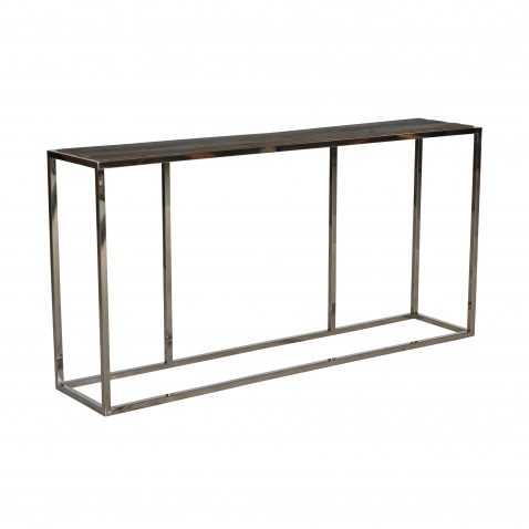 industrial console with wood top