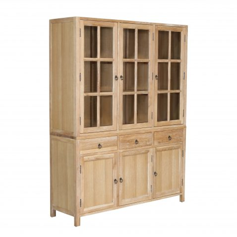 block and chisel display cabinet with glass doors and wooden doors below