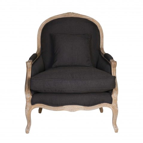 french style lounge chair in charcoal
