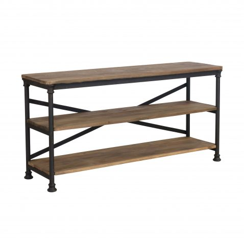 industrial 2 tier metal and wood console