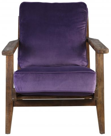 Block & Chisel purple velvet upholstered occasional chair with rubber wood legs