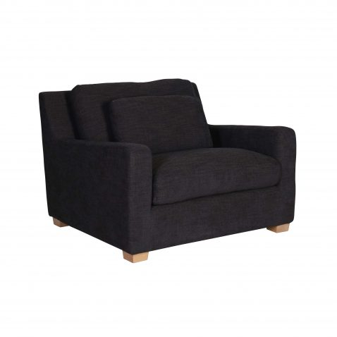 oversized modern chair in charcoal
