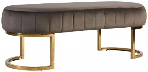 Block & Chisel oval grey velvet upholstered ottoman