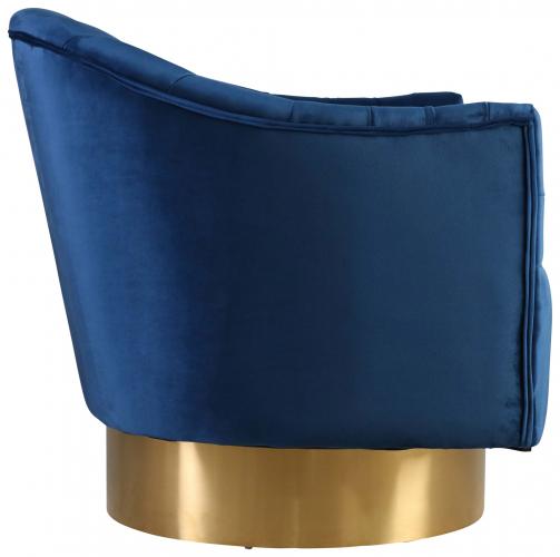 Block & Chisel navy blue velvet upholstered occasional chair