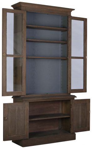 Block & Chisel solid railway oak single bookcase with glass front