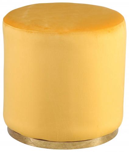 Block & Chisel round mustard velvet upholstered ottoman