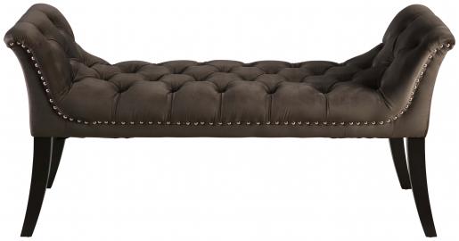 Block & Chisel grey velvet upholstered bedend