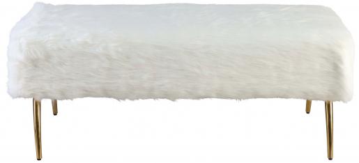 Block & Chisel white shag upholstered ottoman