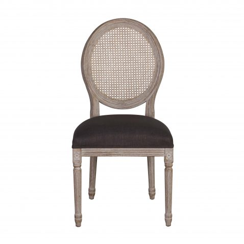 Margot Dining Chair - with charcoal grey upholstery, french inspired wooden frame