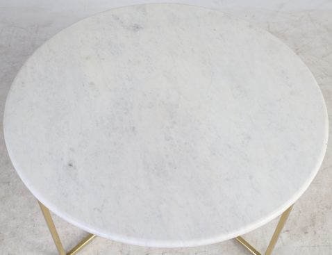 Block & Chisel round coffee table with marble top and iron base