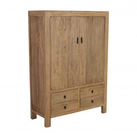 elm cabinet with 4 drawers and 2 doors