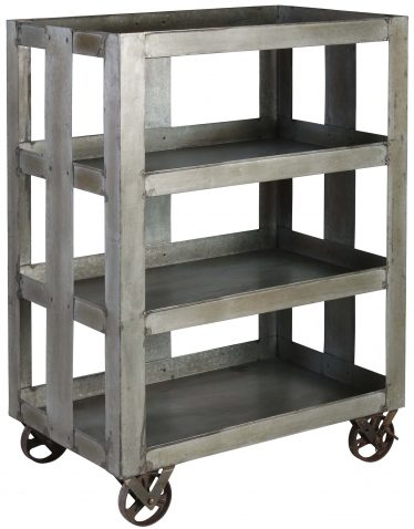 Block & Chisel galvanised iron trolley with castors drinks