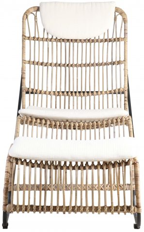 Block & Chisel koboo jawit natural rattan lounge chair with stool