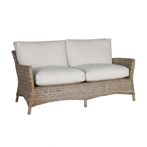Rattan 2 seater sofa angled