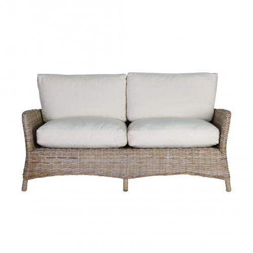 Rattan 2 seater sofa straight on